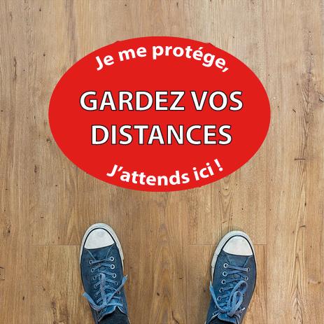 stickers sol gardé vos distances